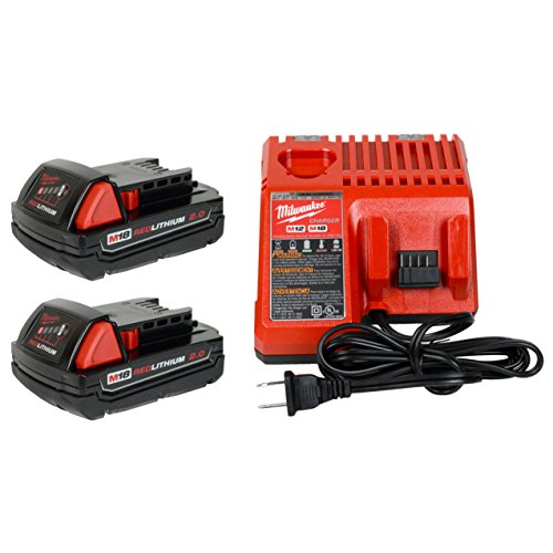 Milwaukee 48-59-1812 12V/18V Battery Charger and (2) 48-11-1820 18V 2.0Ah Batteries - Simultaneous Battery Charger
