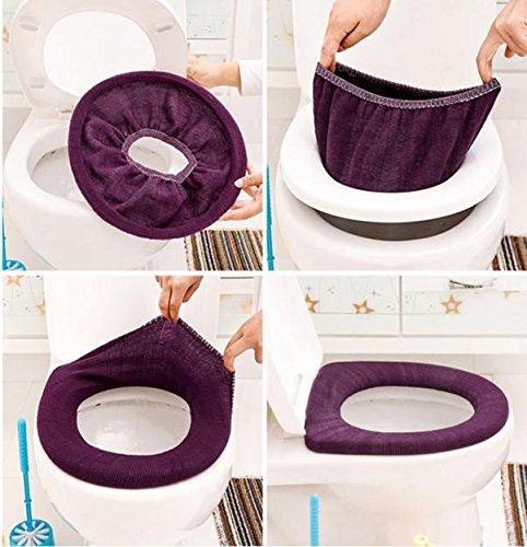 Iuhan 2Pcs Bathroom Toilet Seat Closestool Washable Soft Warmer Mat Cover Pad Cushion❤️Random Color❤️ (2) by Iuhan (Image #2)