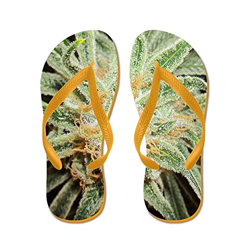 Cafepress Cannabis Sativa Blomma - Flip Flops, Roliga Rem Sandaler, Strand Sandaler Apelsin