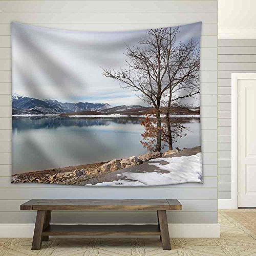 Lake Plastiras in the Winter Thessaly Greece Fabric Wall Tapestry
