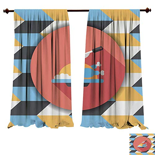 DragonBuildingMaterials Panels Sun Blocking Curtains Thanksgiving Dinner Flat icon with Long shadow8 Window Treatments for Kitchen - Xtra Large Flat Panel
