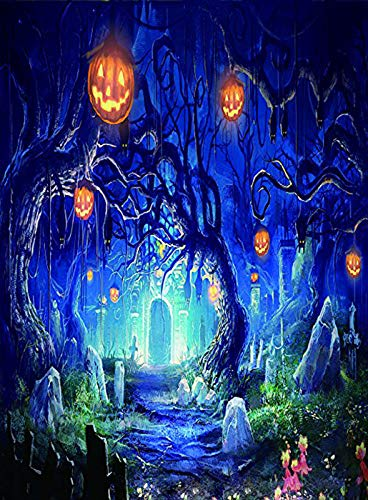5x7ft Halloween Backdrop Horror Nights & Mysterious Terror Forest & Hallowmas Party Decoration Photography Background Customized Photo Studio Prop WSJ-140 -