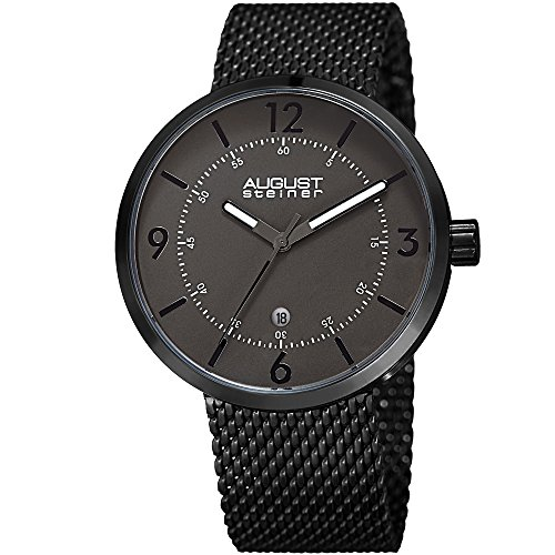 August Steiner Men's Quartz Stainless Steel Casual Watch, Color:Black (Model: AS8204BK)