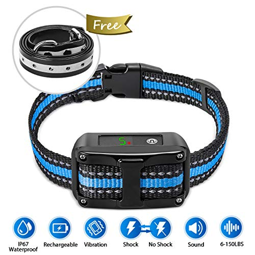 PetYeah [Upgraded 2019] Dog Anti Bark Collar Smart Detection Adjustable Collar Rechargeable Rainproof Beep Vibration Shock 5 Sensitivity Humane & Harmless Bark Collar for Small Medium, Large - Collar Dog Automatic Bark