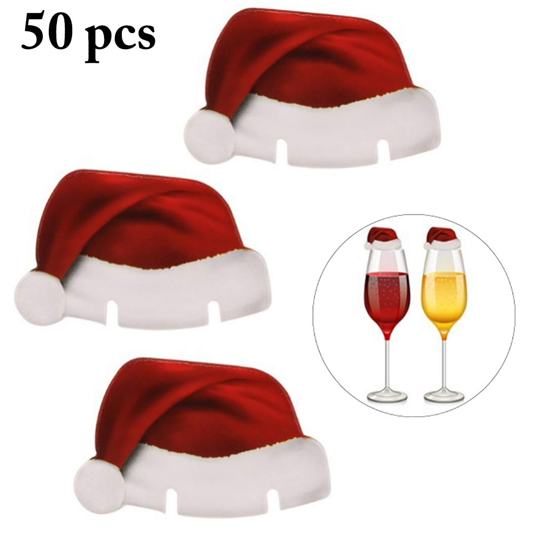 Zoylink 50PCS Christmas Glass Sign Flag Santa Hat Decor Food Sign