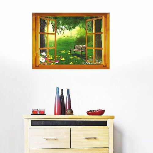 Wallmates Home Decorative Mural Decal Art Vinyl Wall Sticker Window View Green Forest Flower Wallpaper
