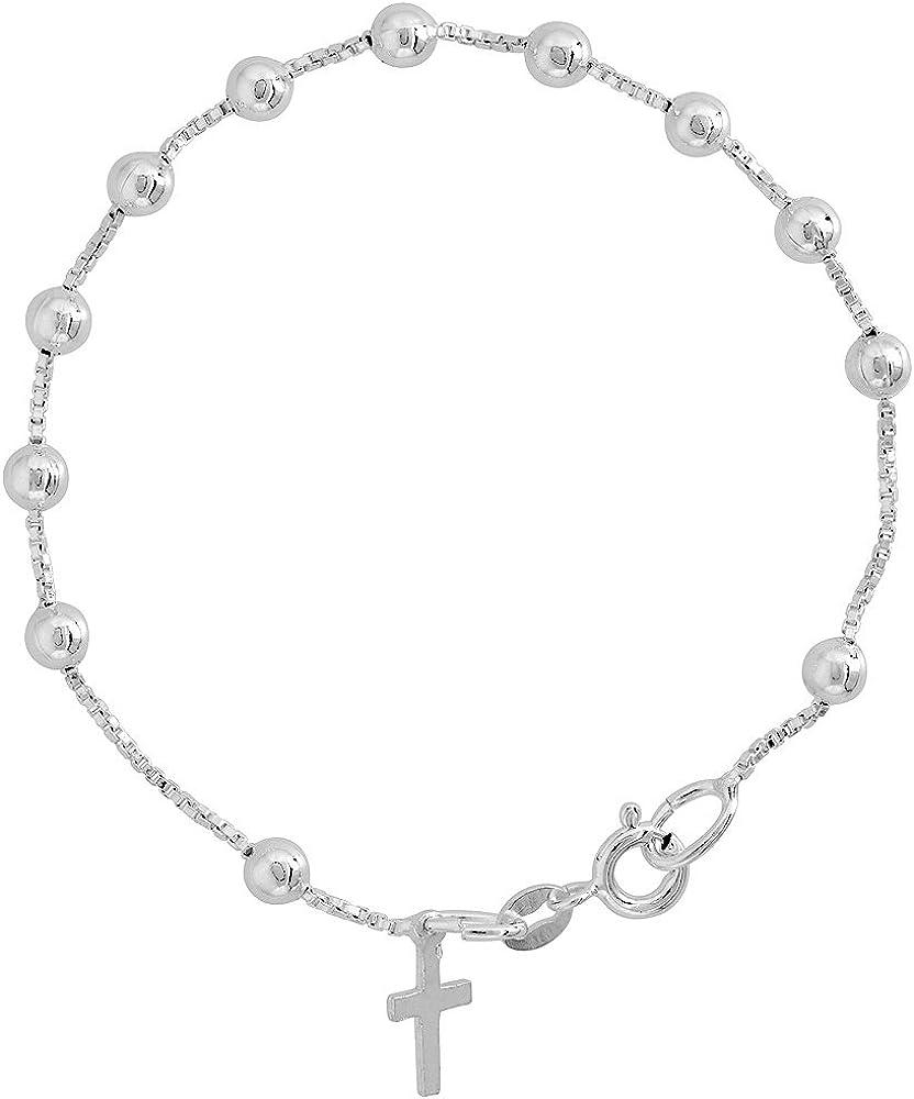 Real 925 Sterling Silver 6 Inch Bracelet w Cross Charm Plain Simple Bracelets