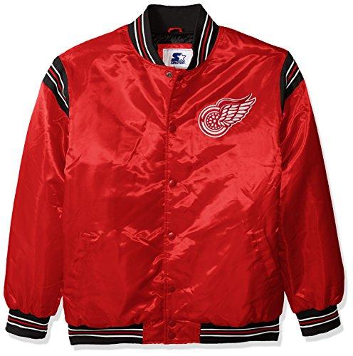STARTER NHL Detroit Red Wings Men's The Enforcer Retro Satin Jacket, X-Large, Red (Wings Starter Detroit Red)
