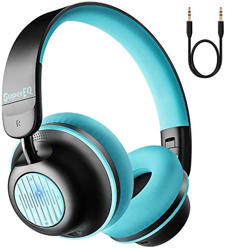 Active Noise Cancelling Headphones-SuperEQ S2 Bluetooth On Ear Headphones with CVC 8.0 Mic, Deep Bass, 25H Playtime, 40mm Drivers, Memory Foam Ear Cups for Travel Online Class Office (Black Green)