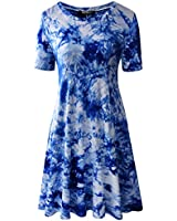Zero City Women's Short Sleeve Casual Tie Dye Cotton Swing Tunic T-shirt Dresses Small Ze2010_royal Blue