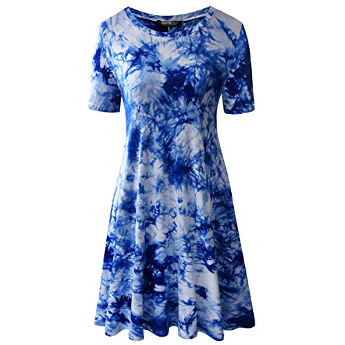 Zero City Women's Short Sleeve Casual Tie Dye Cotton Swing Tunic T-shirt Dresses Small Ze2010_royal -