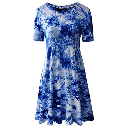 Zero City Women's Short Sleeve Casual Tie Dye Cotton Swing Tunic T-shirt Dresses Large Ze2010_royal -