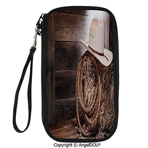 PUTIEN Printed Travel Passport Holder Purse American West Rodeo Hat with Traditional Ranching Robe on Wooden Ground Folk Art Photo Decorative with Double Zipper closure.