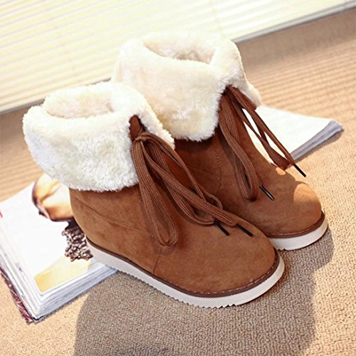 SOMESUN Plush Lace-up Shoes Warm Ankle Snow Boots Two Kinds Of Wear Law Women's Winter Brown roWTaOnT