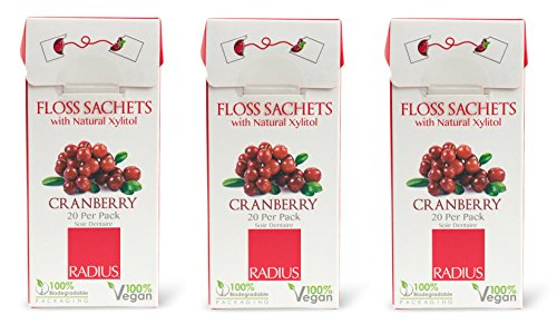 Radius Floss Sachets Vegan Xylitol Cranberry (Pack of 3) with Vegan Candelilla Plant Wax and Gluten Free, 20 sachets per pack