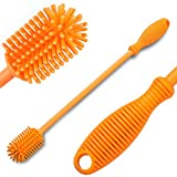 #1: Bottle Brush by BelgoFF - Bottle Scrubbing Silicone Kitchen Cleaner For Washing Glass, Baby, Plastic, Beer, Wine, Narrow, Neck, Water Bottles, Tumblers, Thermoses, Dishes with Long & Non-Grip Handle.