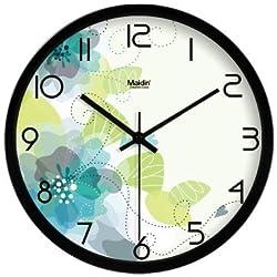 Modern Simplistic Gardenesque Floral Inspired 12 Round Non-Ticking Ultra Silent Wall Clock - Hibiscus