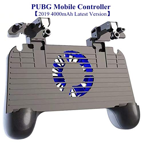 PUBG Mobile Controller with Cooling Fan - Aovon [2019 4000mAh Power Bank Version] Sensitive L1R1 Game Trigger Joystick Gamepad Grip for 4.5-6.5 Inch Smartphone, Perfect for Kids and Players