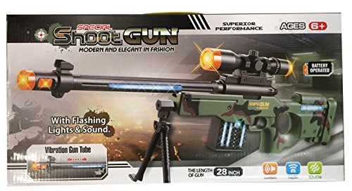 AW50 Sniper Military Combat Toy Machine Gun with Colorful LED Light and Sound Effect by Quest Toys (Image #4)