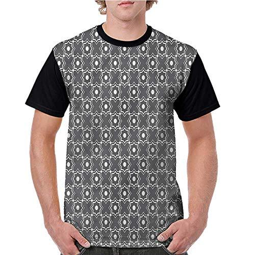 Raglan Sleeve Baseball Tshirt,Trellis,Traditional Moroccan Star S-XXL Mens Short Sleeve Blouses