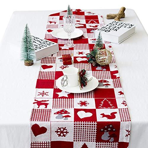 B bangcool Christmas Table Runner, Printed Fabric Decorative Dining Table Runner Christmas Table Decoration