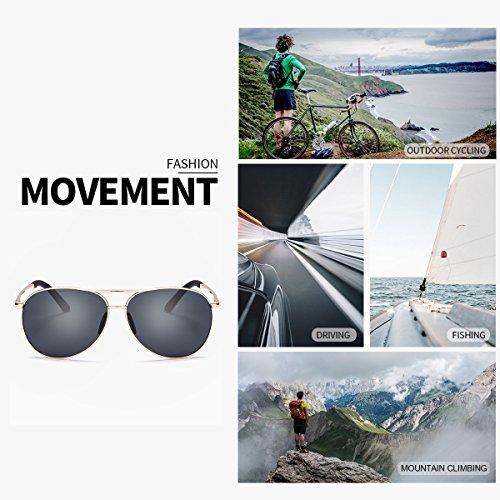 UVB Lente Metal Gafas Reflectante Hombre UVA Ultraligero Gris Dorado Conducir Aviador Anti para Polarizadas Marco Protección de 100 Sol 6q68B1