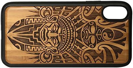 iMakeTheCase - Carcasa para iPhone XR, diseño azteca con bordes envueltos en TPU y madera de bambú: Amazon.es: Electrónica