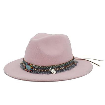 fa7cb793f0b WCS Fashion Wool Women Men Outback Fedora Hat With Tassel Bohemia Ribbon  For Elegant Lady Jazz
