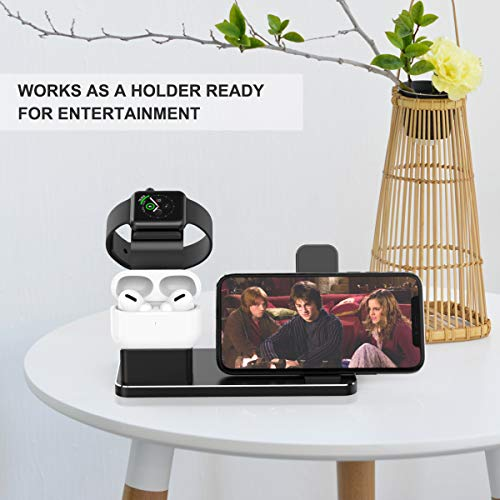 YoFeW Charging Stand for Apple Watch Charger Stand Aluminum Dock Station Compatible for iWatch Apple Watch Series 4/3 / 2/1/ AirPods/iPhone X/XS/XS Ma /8 / 8Plus / 7/7 Plus /6S /6S Plus