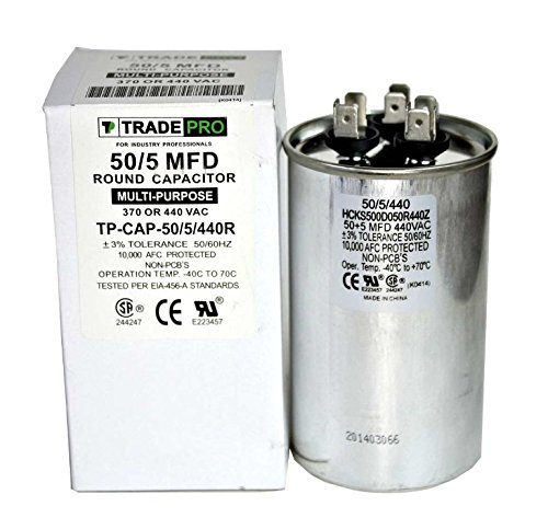 50/5 MFD 440 or 370 Volt Round Run Capacitor Replacement TradePro 50+5