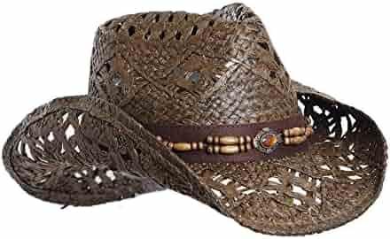 cbca3c965be0 Vamuss Straw Cowboy Hat W/Vegan Leather Band & Beads, Shapeable Brim, Beach