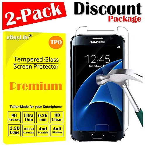 Samsung Galaxy S7 Screen Protector Glass, with Free Gift Screen Clean Tools [eBuyLife] Tempered Glass Screen Protector for Samsung Galaxy S7 SM-G930 (2-Pack)