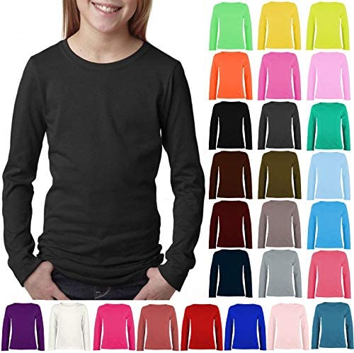 janisramone Kids Girls Boys New Plain Long Sleeve Basic Stretch Round Neck T-Shirt School Tee Top