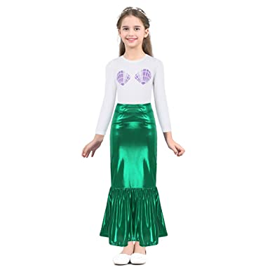 22833b093aeb TiaoBug 2pcs Little Girls Mermaid Skirt + Shell T-Shirt Outfit Halloween  Party Cosplay Dress