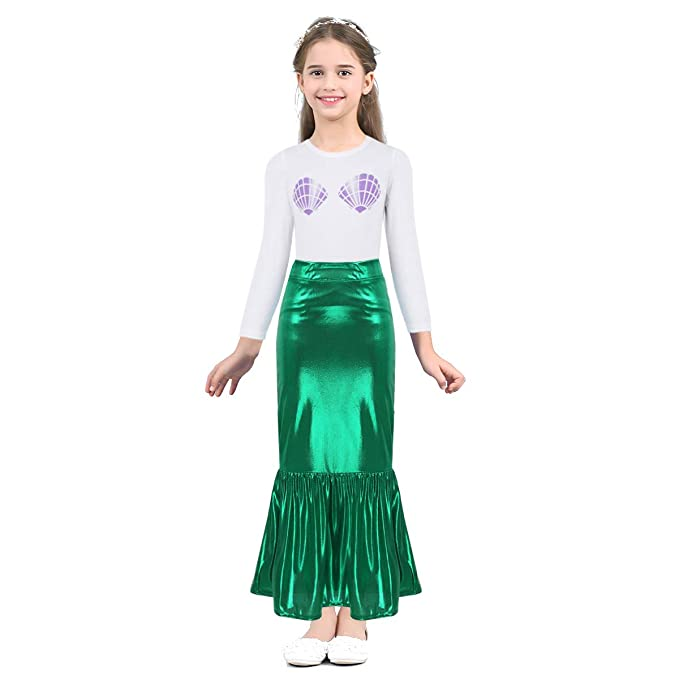 Amazon.com: TiaoBug 2pcs Little Girls Mermaid Skirt + Shell ...