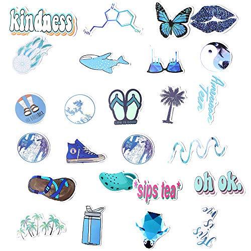 VSCO Stickers for Water Bottle, 50 PCS Cute Aesthetic Trendy Waterproof Vinyl Sticker for Laptop, Phone, Luggage, Skateboard, Guitar, Graffiti Decal (Blue)