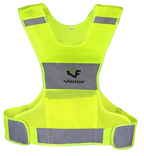 Reflective Vest for Running or Cycling (Women and Men, with Pocket, Gear for Jogging, Biking, Motorcycle, Walking) (Extra Large) by Flectson