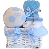 My Babys First Football Baby Shower Hamper Basket Boy Newborn Gift Blue/Football Gifts for Baby Boys/Maternity Leave Nappy Cake Hampers Baskets Gift Set for Babies/Nappy Cakes Boy/FAST DISPATCH