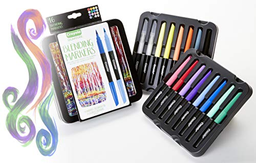 (Crayola Blending Marker Kit with Decorative Case, 14 Vibrant Colors & 2 Colorless Blending)