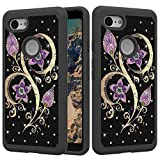 for Google Pixel 3 Glitter Case,QFFUN Bling Crystal Rhinestone Diamonds Soft Silicone Inner + Hard Plastic Back Hybrid Double Layer 2 in 1 Shockproof Anti-scratch Mobile Phone Protective Cover - Peacock Flower