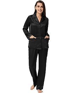 9d3d91e48 Zexxxy Women's Satin Pajama Set Long Button Down Sleepwear with Pants ZE0052