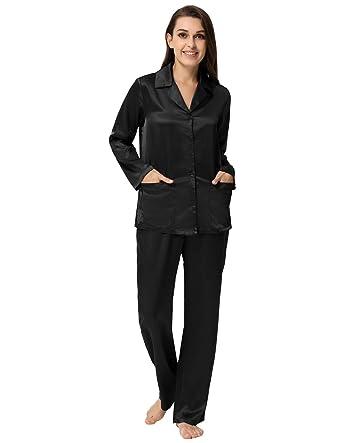 89602a358c Women s Satin Pajamas Set Long Sleeve Button-Down Sleepwear Loungewear Black  S
