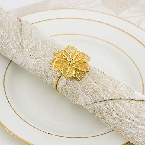 ANPHSIN Set of 8 Napkin Rings Dinning Table Setting for Casual or Formal Occasions- Flower Gold (Napkin Flower Rings)