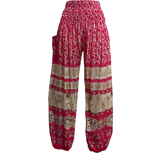 (Indian Bohemian Gypsy Elephant White Print Yoga Meditation Harem Pants)