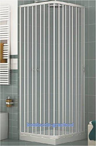 GRANISUD Mampara Ducha Angular Extensible en PVC, Apertura Lateral, una Hoja, 70 x 90 cm, H 185 cm, Blanco: Amazon.es: Hogar