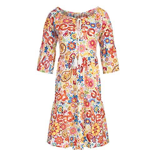 FEDULK Womens Boho Flowy Dress Ethnic Floral Print Three Quarter Sleeve Summer Beach Sundress Mini Dress(Orange, - Beaded Bodice Ruched