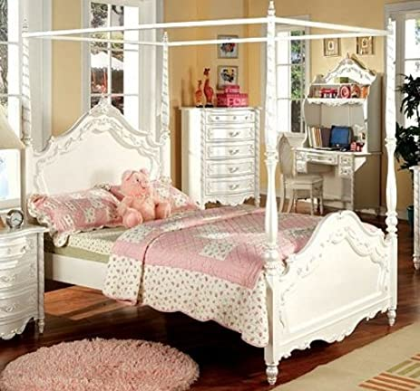Poster Canopy Bed in Pearl White - Victoria Collection & Amazon.com: Poster Canopy Bed in Pearl White - Victoria Collection ...