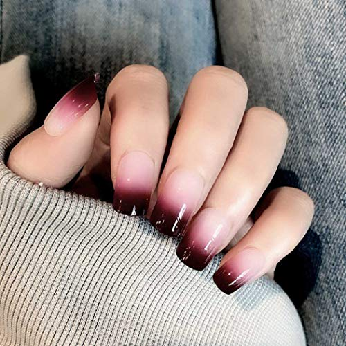 Evazen False Nails Pink Gradient Sequins Full Cover Short Square Coffin Fake Nails Fashion Party Clip on Nails for Women and Girls