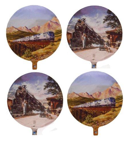 4 Train Mylar Balloons - Multipack of 4 Train Theme Foil Balloons ()