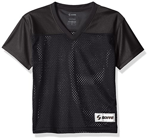 (Soffe Girls' Big Football Jersey, Black, Large)